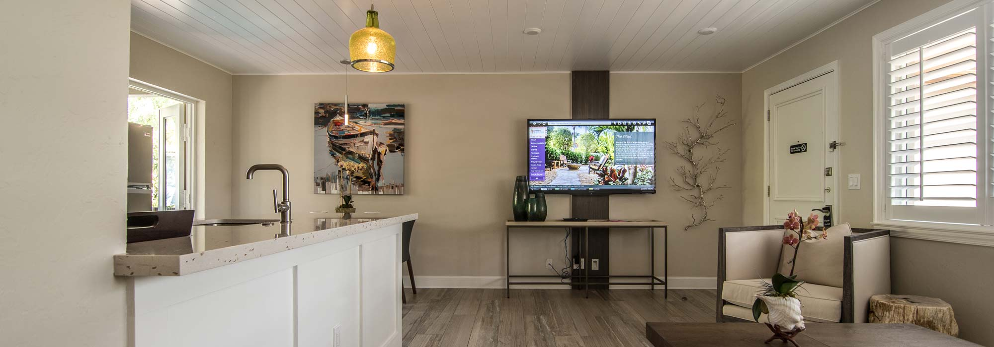 Luxury Villa Living Area and Full Kitchen
